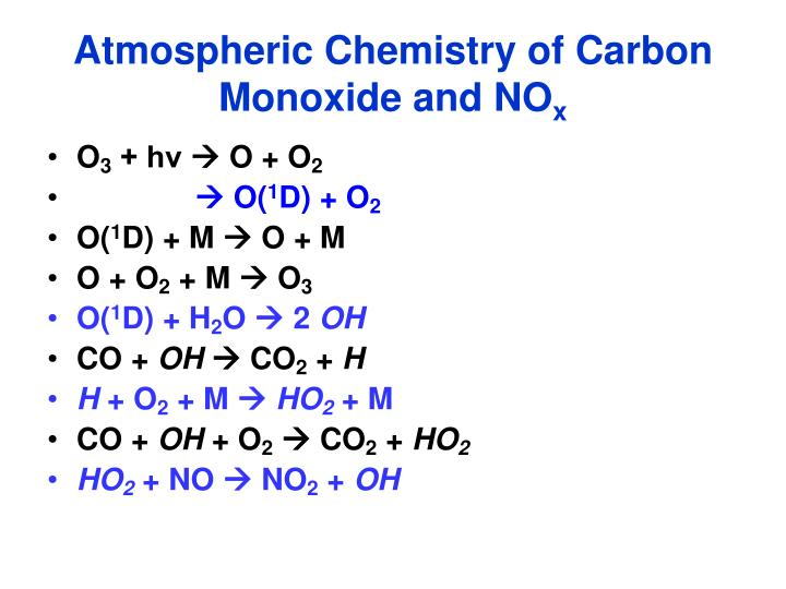 Atmospheric Chemistry of Carbon Monoxide and NO