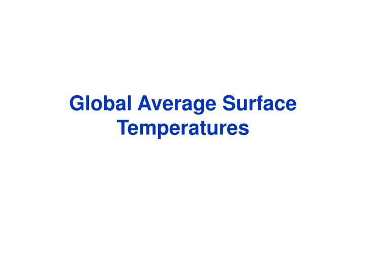 Global Average Surface