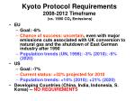 kyoto protocol requirements 2008 2012 timeframe vs 1990 co 2 emissions