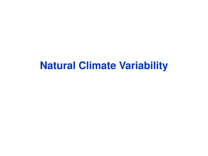 Natural Climate Variability