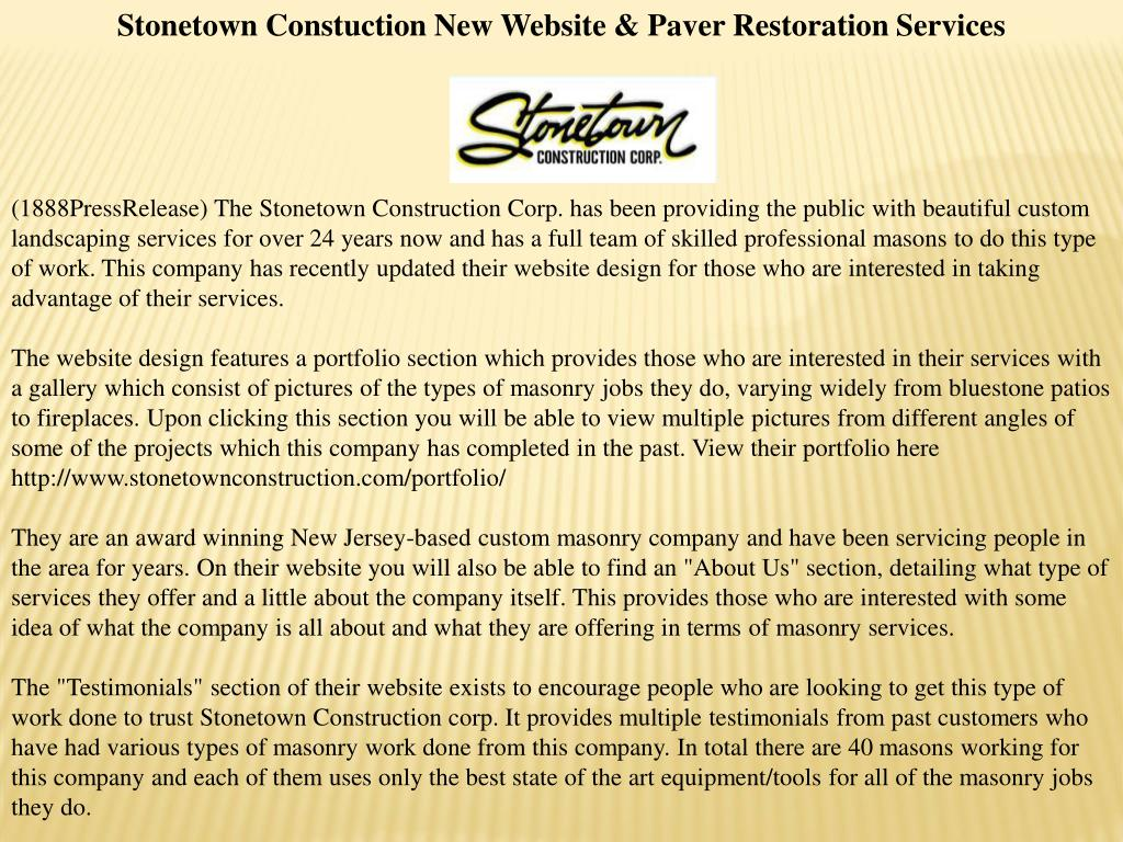 Stonetown Constuction New Website & Paver Restoration Services