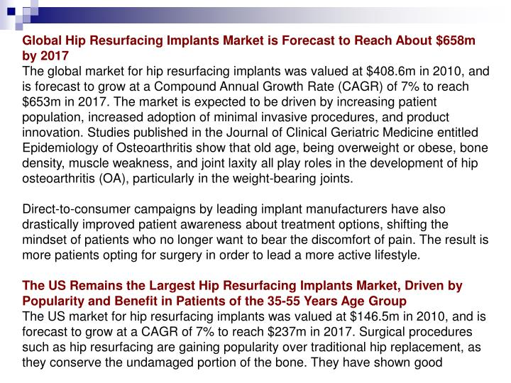 Global Hip Resurfacing Implants Market is Forecast to Reach About $658m by 2017