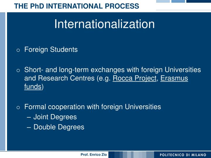 THE PhD INTERNATIONAL PROCESS