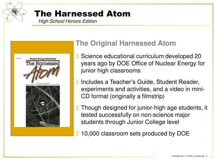 The harnessed atom high school honors edition