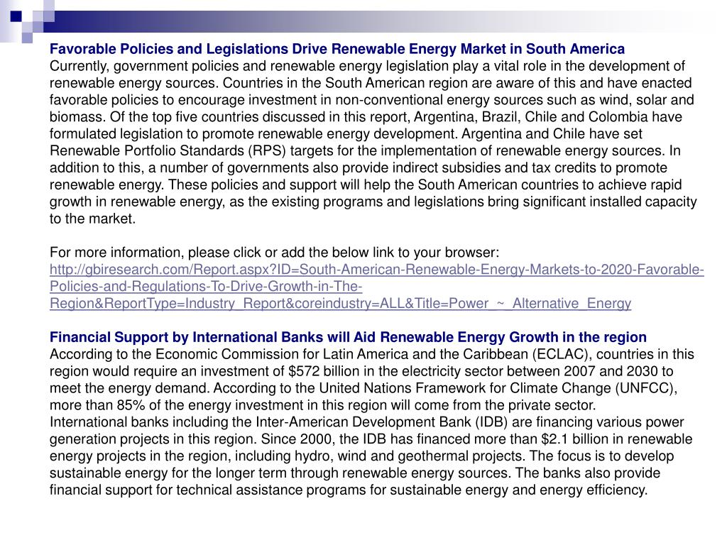 Favorable Policies and Legislations Drive Renewable Energy Market in South America
