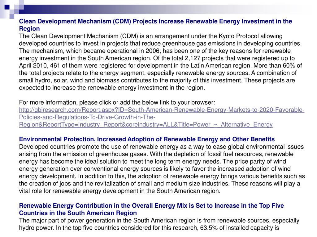 Clean Development Mechanism (CDM) Projects Increase Renewable Energy Investment in the Region