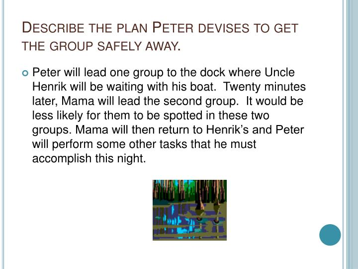 Describe the plan Peter devises to get the group safely away.