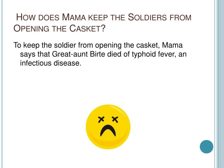 How does Mama keep the Soldiers from Opening the Casket?
