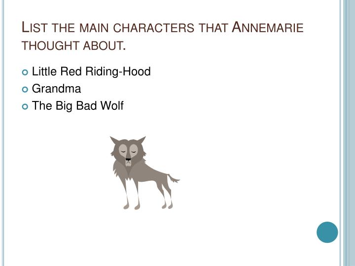 List the main characters that Annemarie thought about.