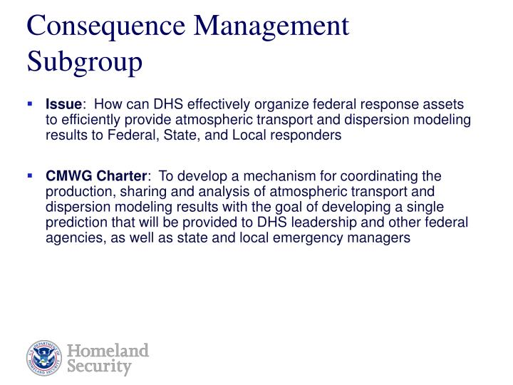 Consequence Management Subgroup