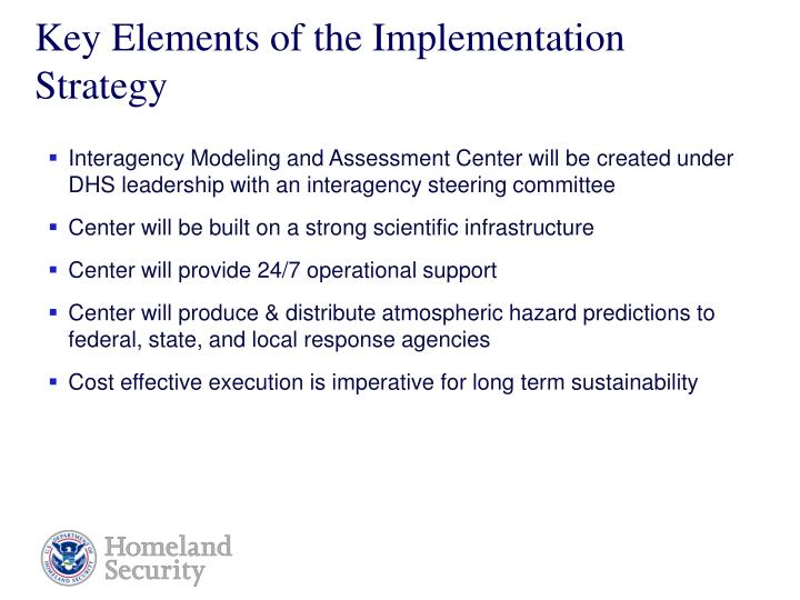 Key Elements of the Implementation Strategy