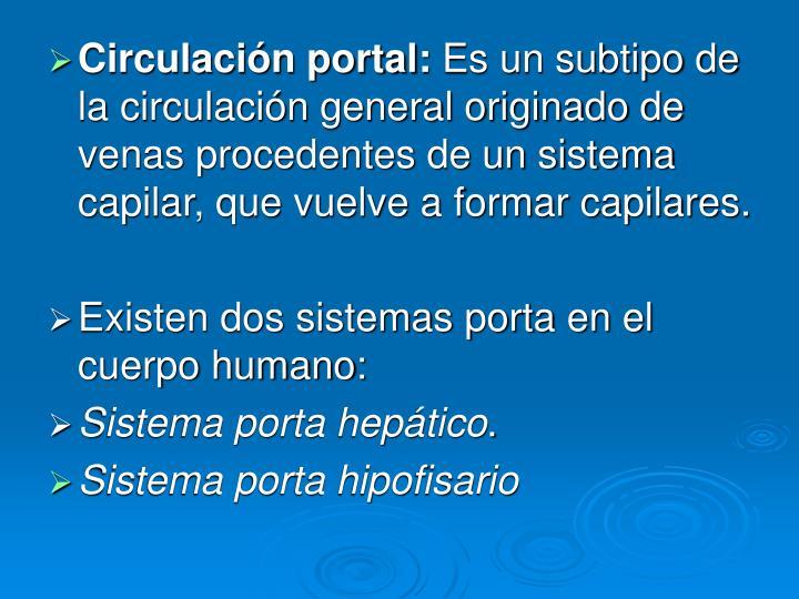 Circulación portal: