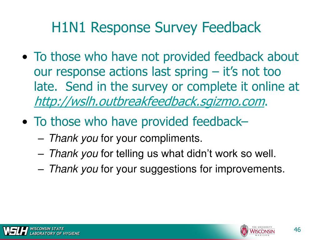H1N1 Response Survey Feedback