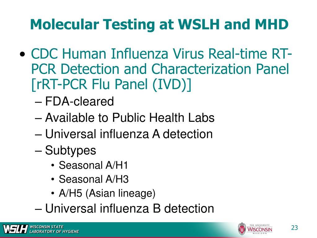 Molecular Testing at WSLH and MHD