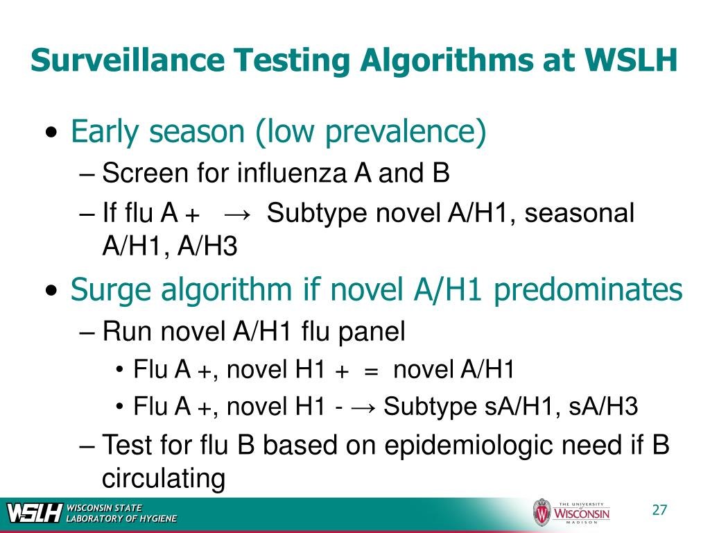Surveillance Testing Algorithms at WSLH