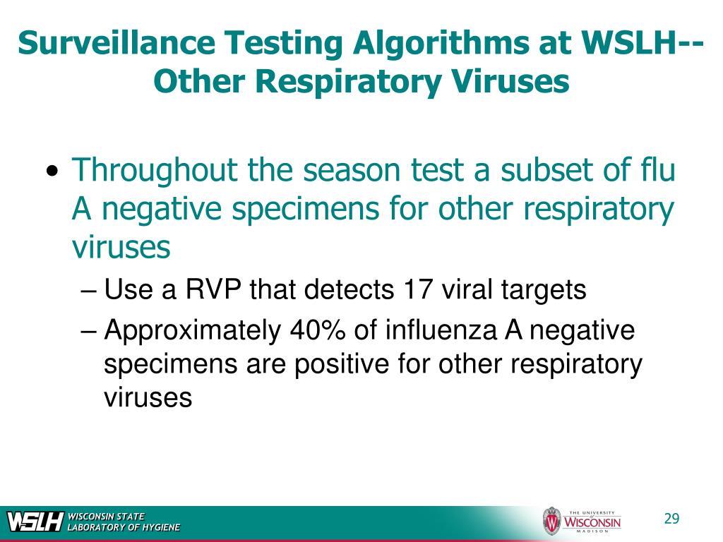 Surveillance Testing Algorithms at WSLH--