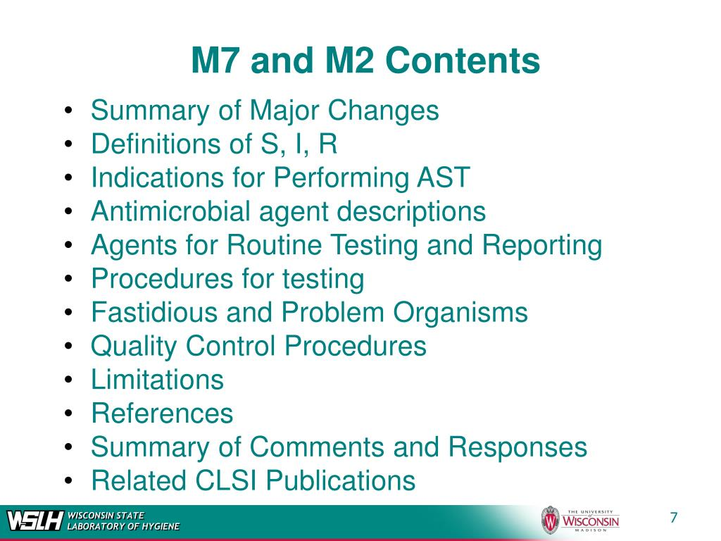 M7 and M2 Contents