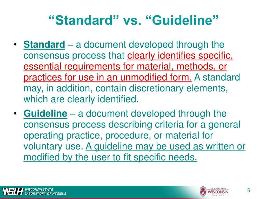 """Standard"" vs. ""Guideline"""
