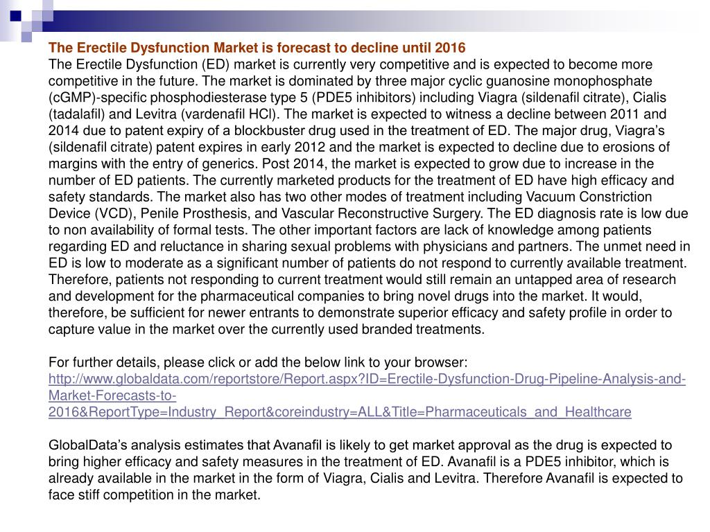 The Erectile Dysfunction Market is forecast to decline until 2016