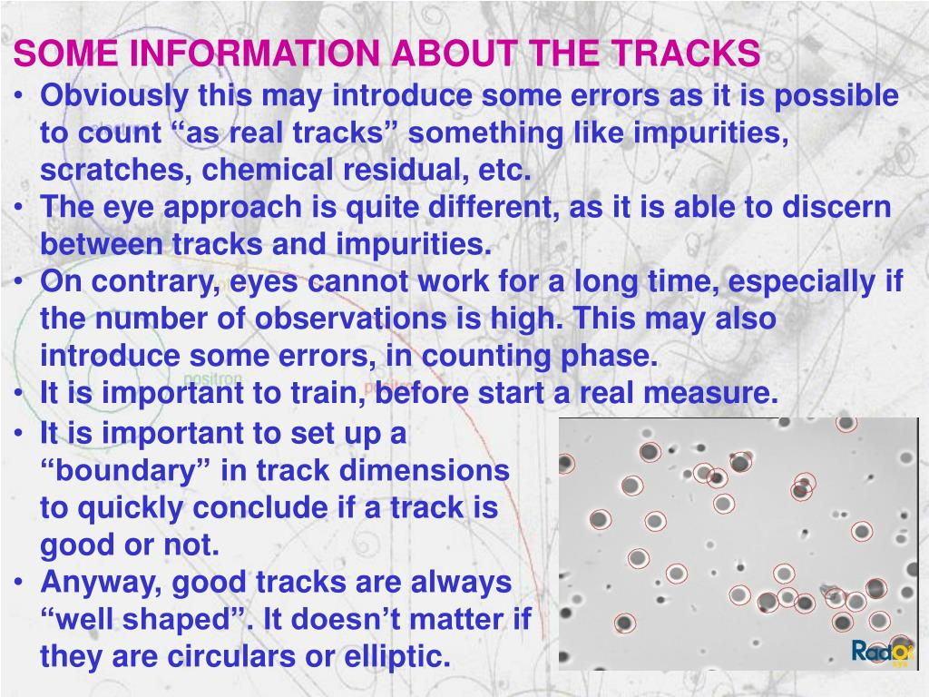 SOME INFORMATION ABOUT THE TRACKS