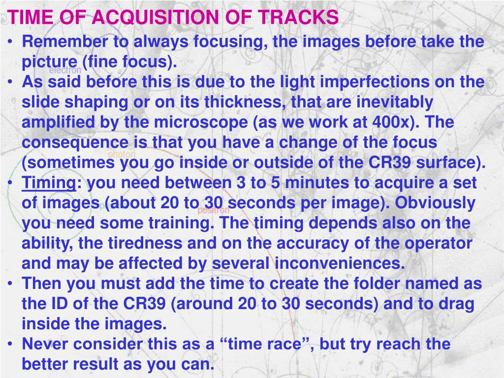 TIME OF ACQUISITION OF TRACKS