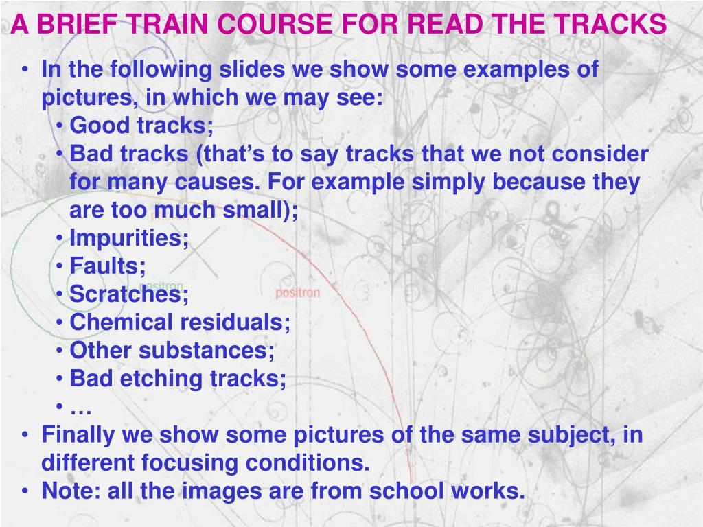 A BRIEF TRAIN COURSE FOR READ THE TRACKS