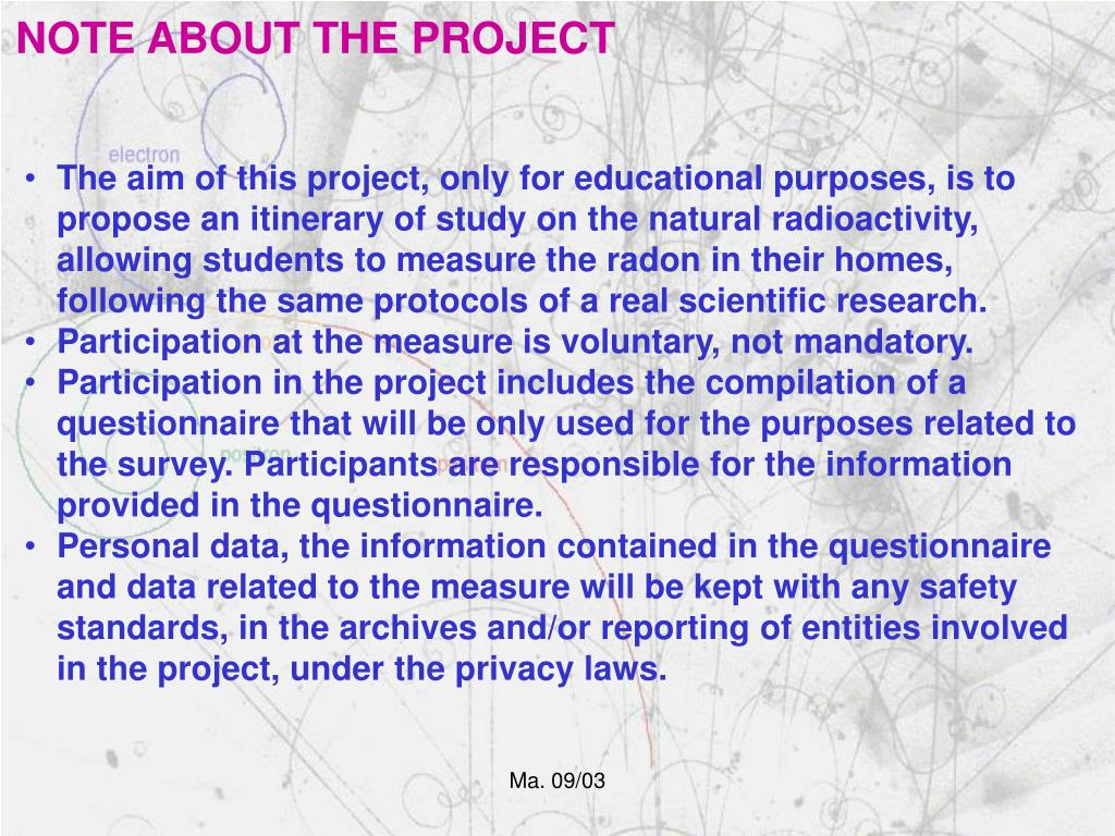 NOTE ABOUT THE PROJECT