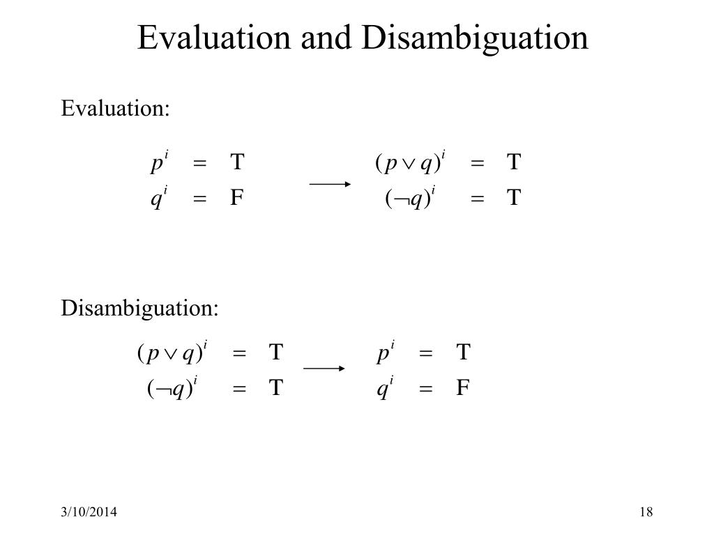 Evaluation and Disambiguation
