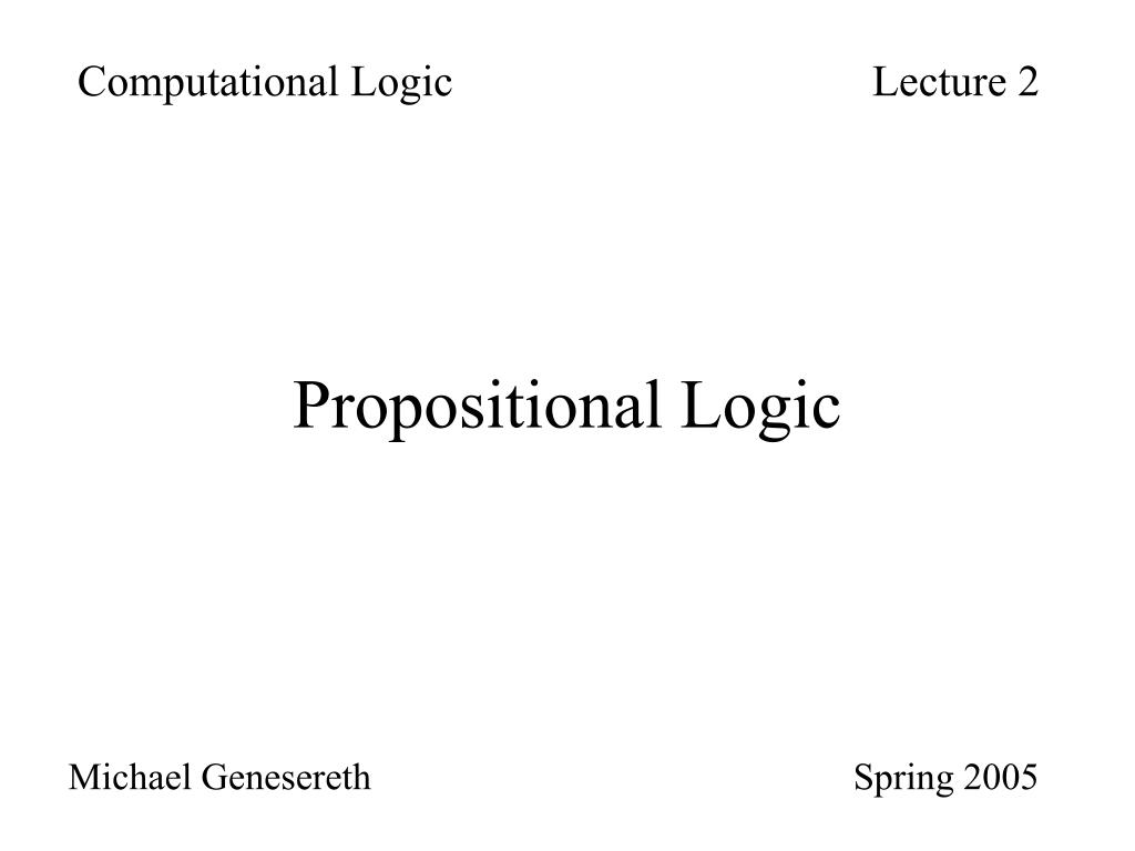 Computational LogicLecture 2