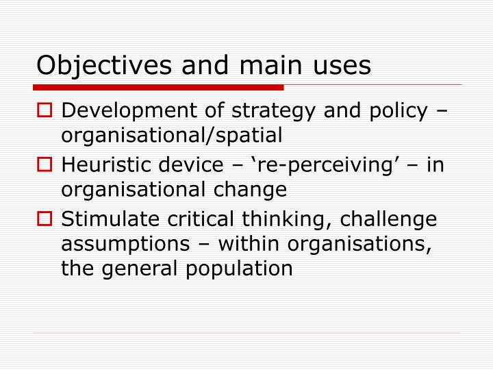 Objectives and main uses