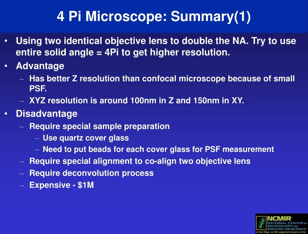 4 Pi Microscope: Summary(1)