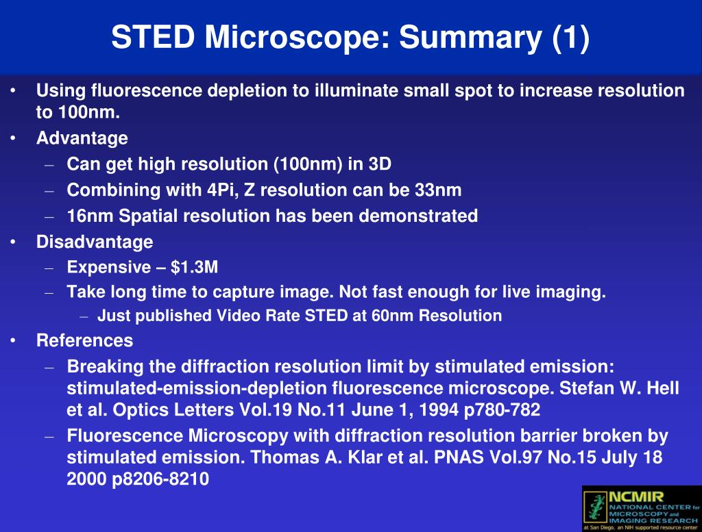 STED Microscope: Summary (1)