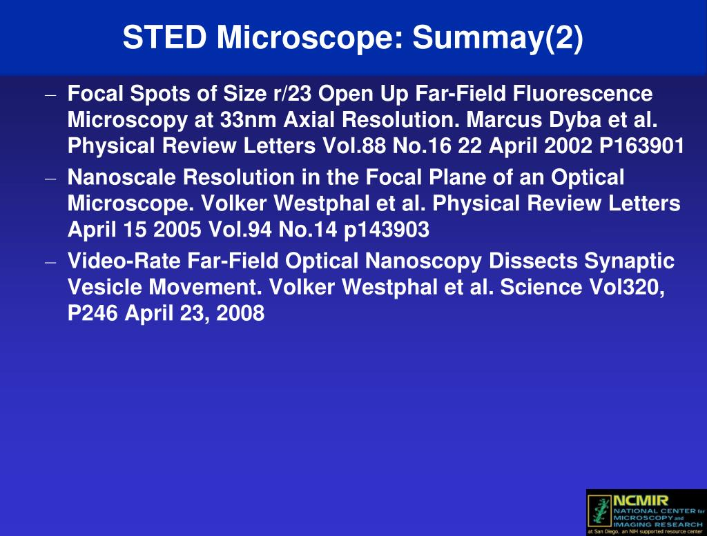 STED Microscope: Summay(2)