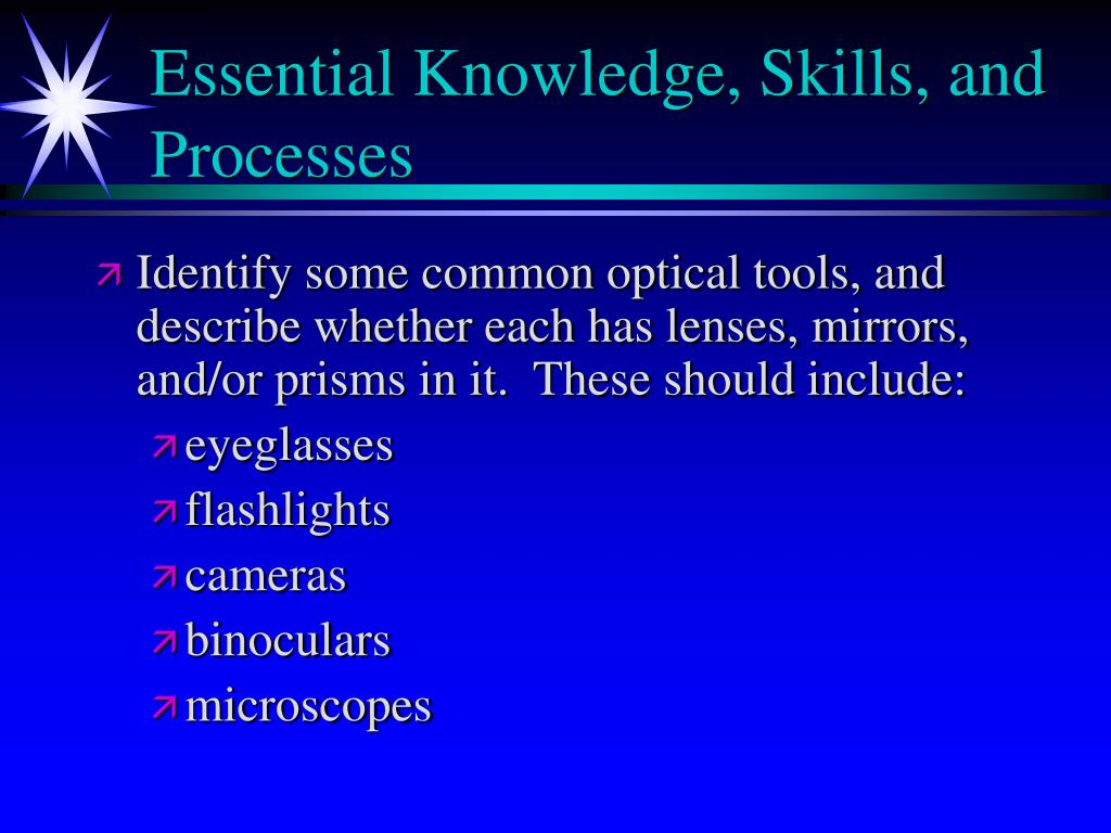Essential Knowledge, Skills, and Processes