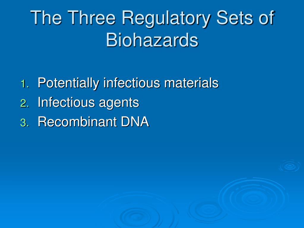 The Three Regulatory Sets of Biohazards