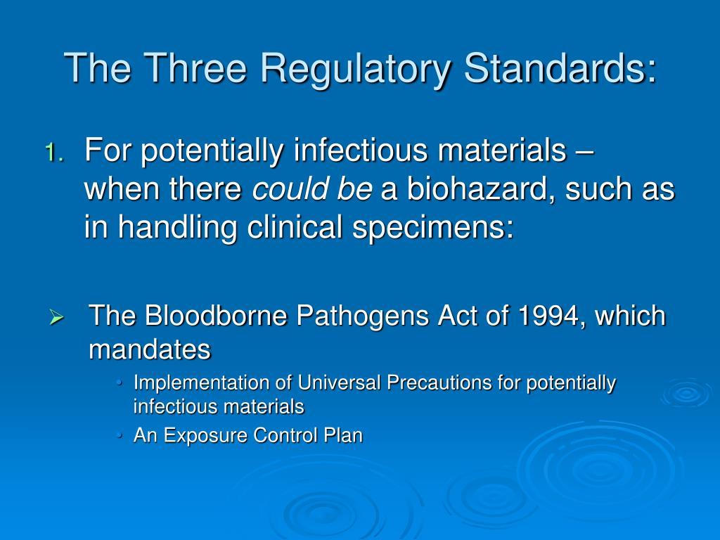 The Three Regulatory Standards: