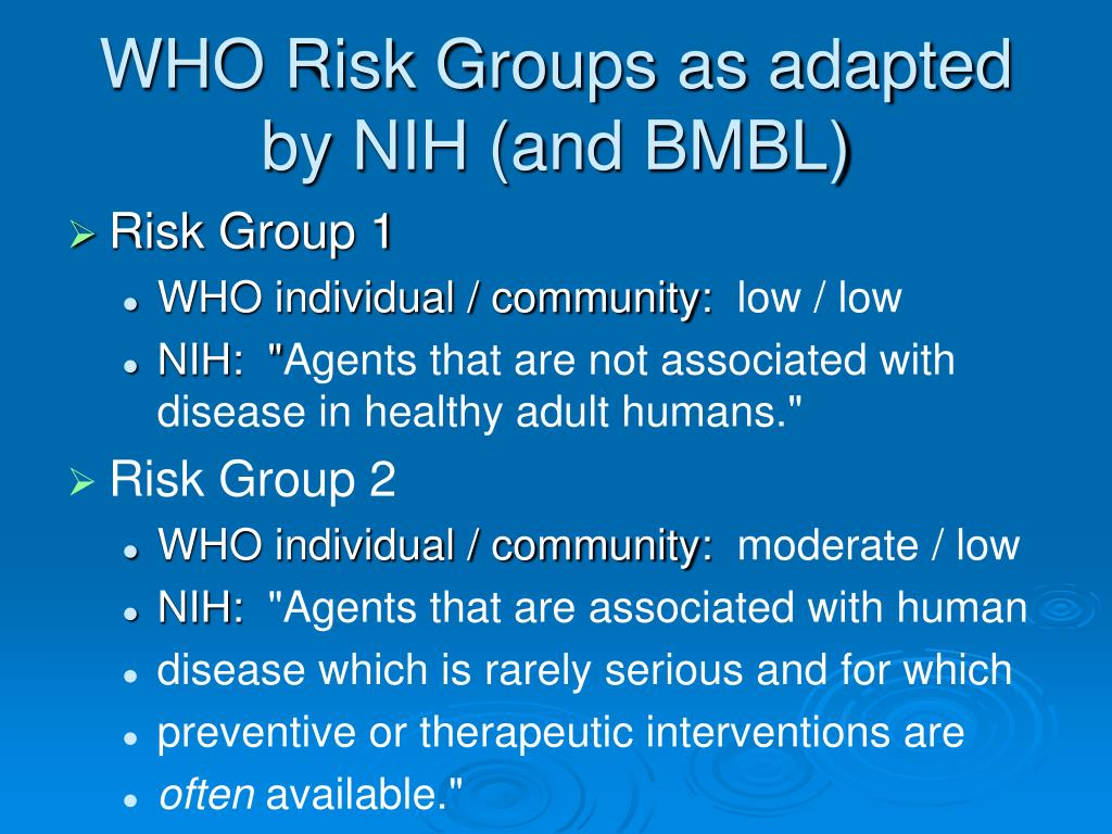 WHO Risk Groups as adapted by NIH (and BMBL)