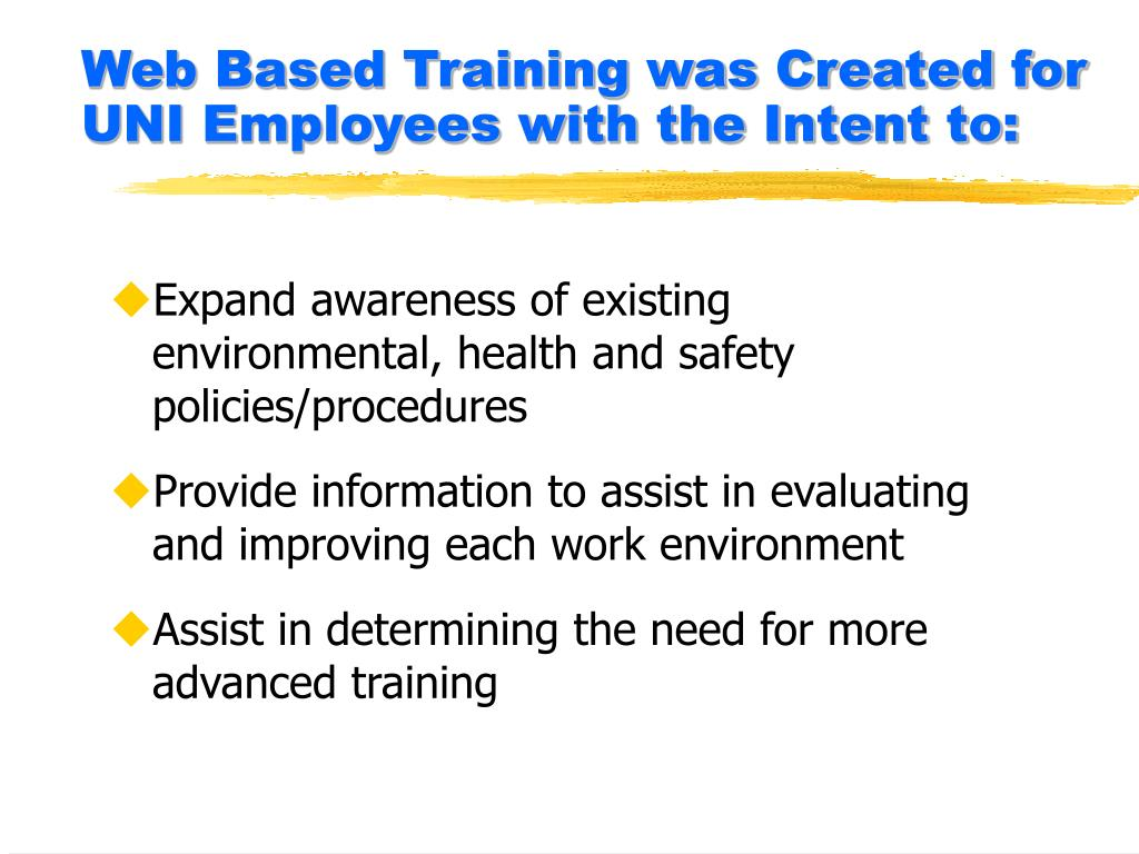 Web Based Training was Created for