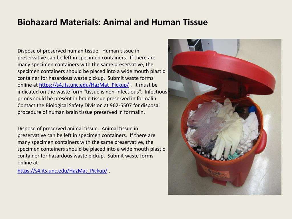 Biohazard Materials: Animal and Human Tissue