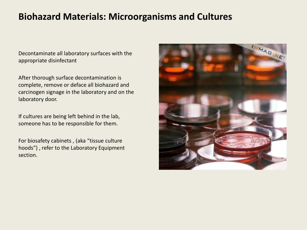 Biohazard Materials: Microorganisms and Cultures