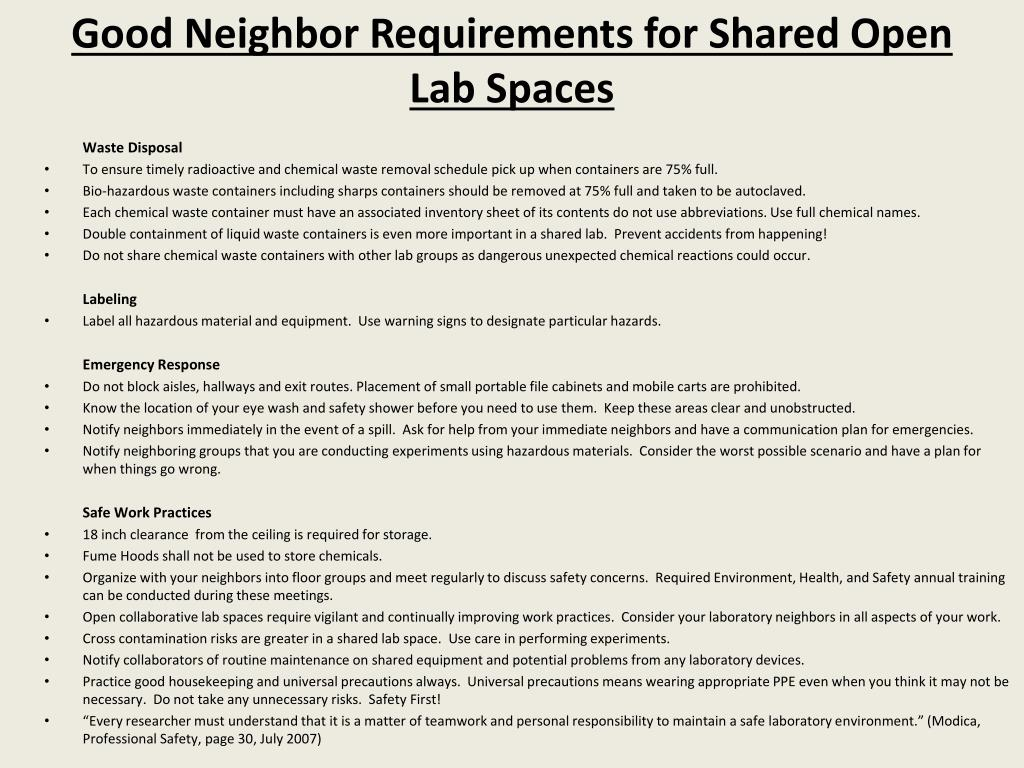 Good Neighbor Requirements for Shared Open Lab Spaces
