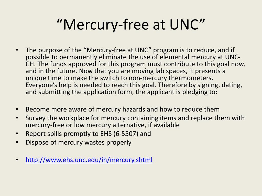 """Mercury-free at UNC"""