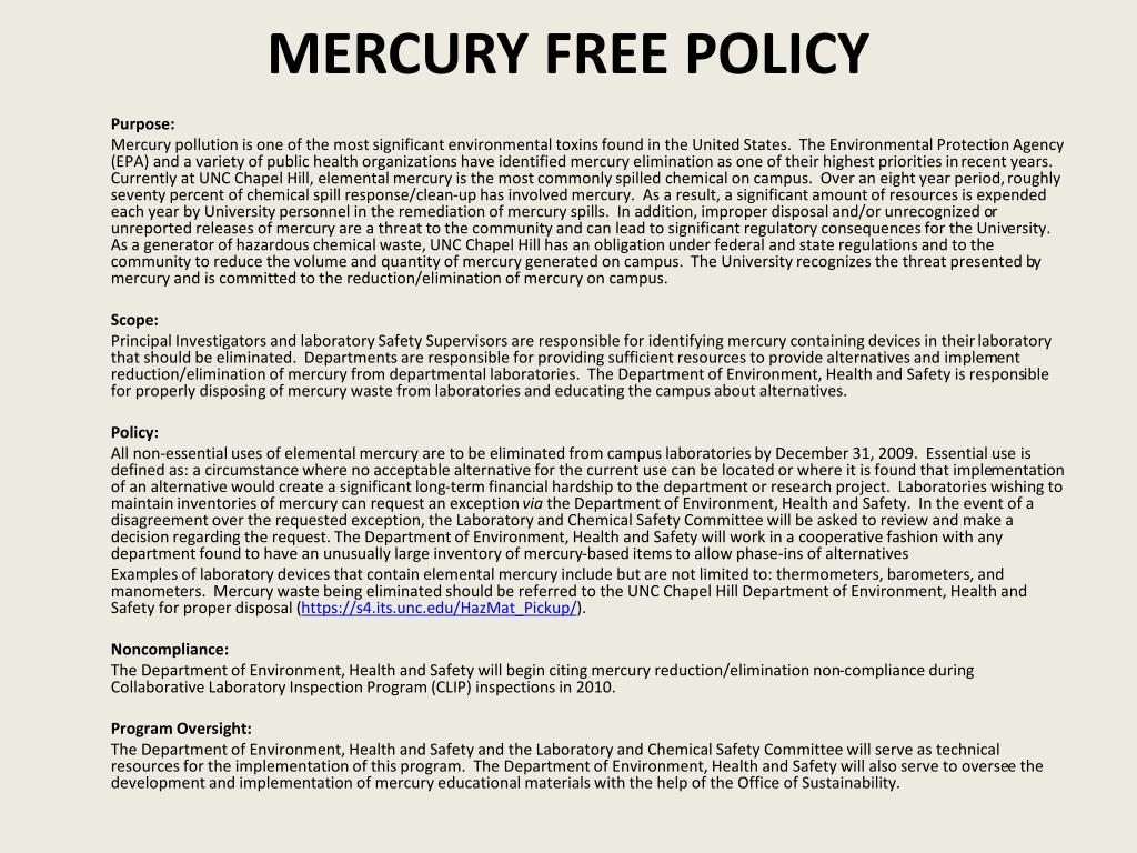 Mercury Free policy