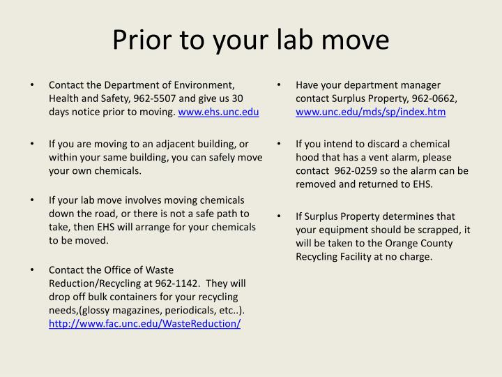 Prior to your lab move