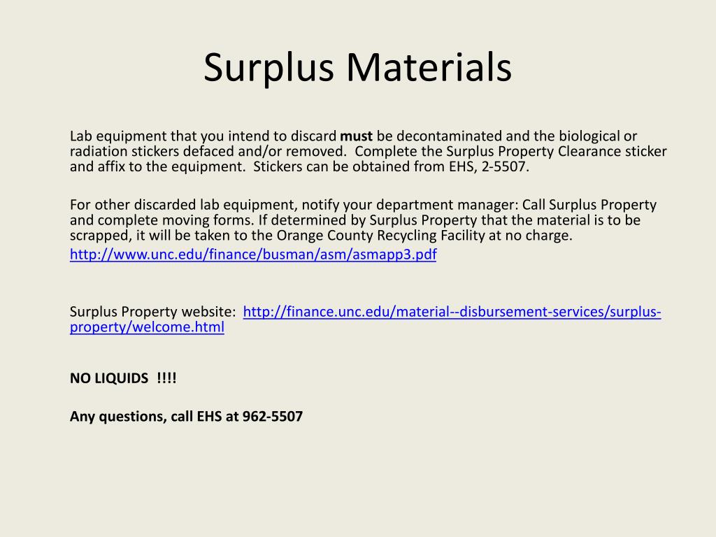 Surplus Materials