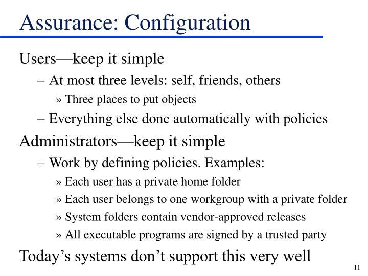 Assurance: Configuration