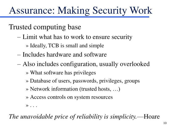 Assurance: Making Security Work