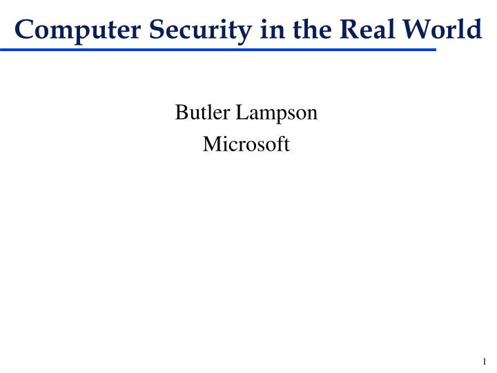 Computer security in the real world