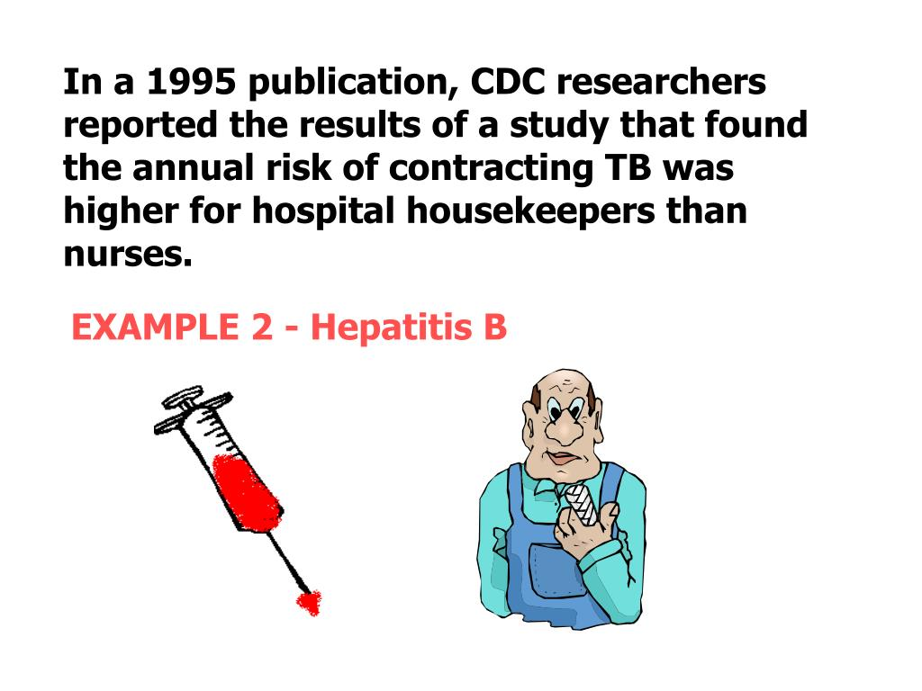 In a 1995 publication, CDC researchers reported the results of a study that found the annual risk of contracting TB was higher for hospital housekeepers than nurses.