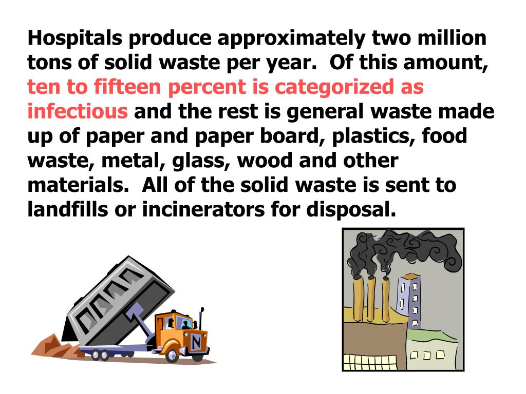 Hospitals produce approximately two million tons of solid waste per year.  Of this amount,